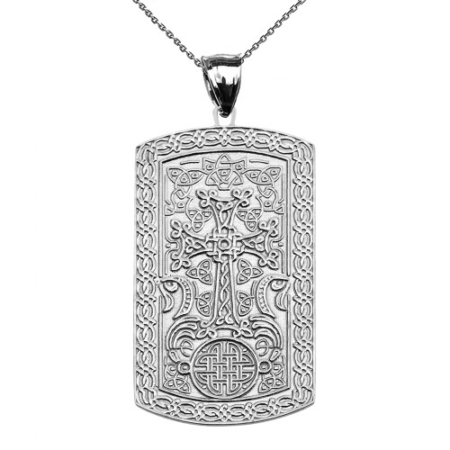 Armenian Cross (Khachkar) White Gold Engraveable Dog Tag Pendant Necklace