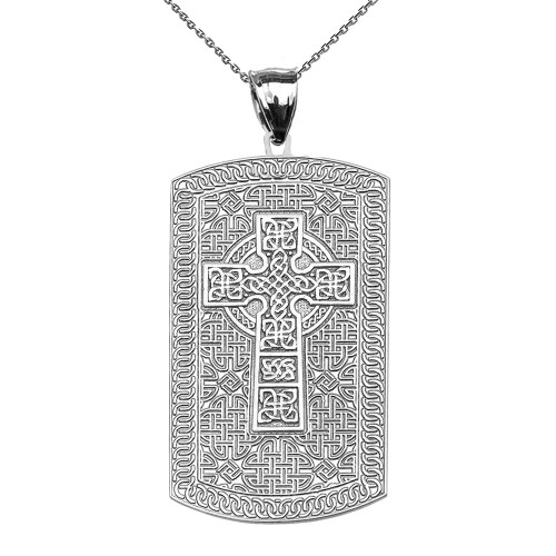 Celtic Cross Trinity Knot White Gold Engraveable Dog Tag Pendant Necklace