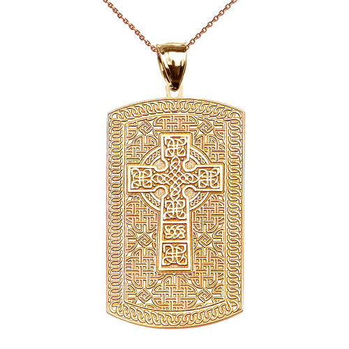 Celtic Cross Trinity Knot Yellow Gold Engraveable Dog Tag Pendant Necklace