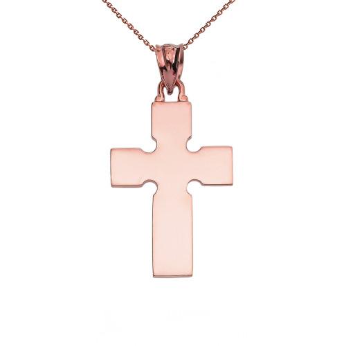 High Polish Celtic Cross Rose Gold Pendant Necklace