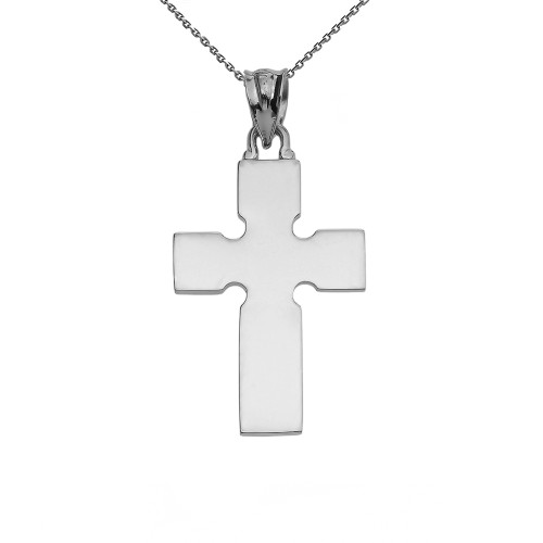 High Polish Celtic Cross White Gold Pendant Necklace