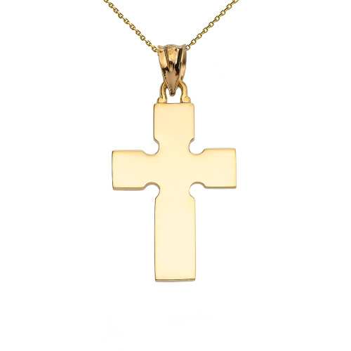 High Polish Celtic Cross Yellow Gold Pendant Necklace