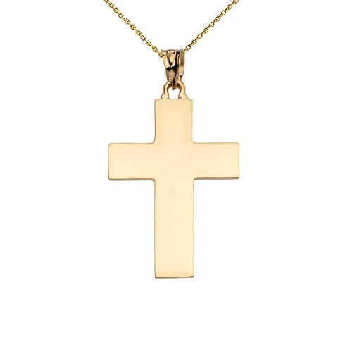 High Polish Elegant Cross Yellow Gold Pendant Necklace