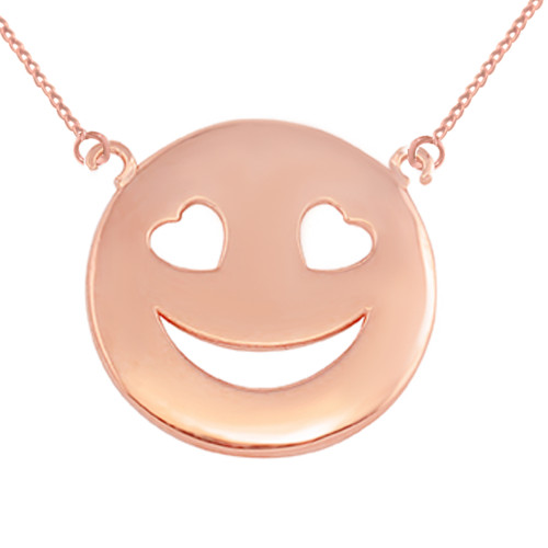 14K Solid Rose Gold Smiley Face Heart Eyes Sideways Pendant Necklace