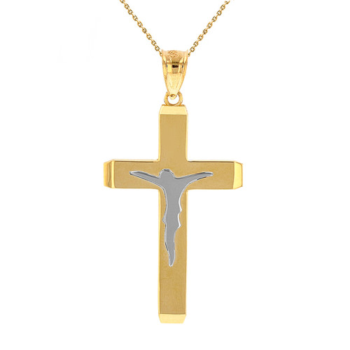 """Two Tone Solid Yellow Gold Layered Cross Jesus Christ Silhouette Pendant Necklace  1.78""""  (45  mm)"""