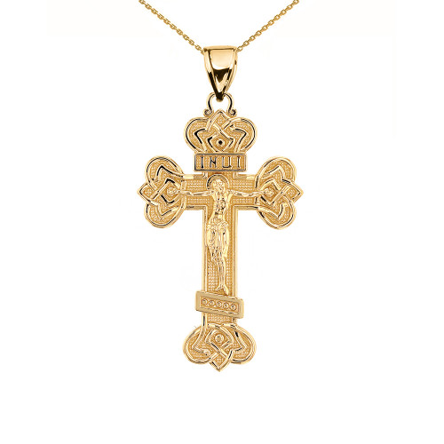 Yellow Gold Budded Eastern Orthodox Crucifix Cross Pendant Necklace