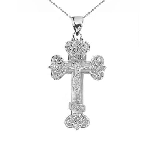 White Gold Budded Eastern Orthodox Crucifix Cross Pendant Necklace