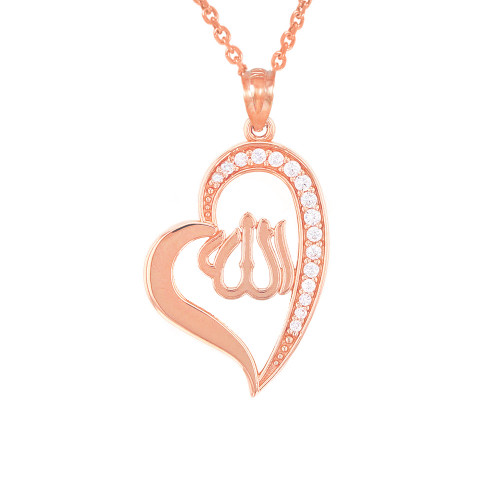 Rose Gold Cubic Zirconia Allah Heart Pendant Necklace
