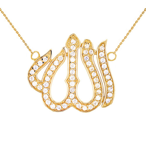 Yellow Gold Diamond Studded Allah Necklace