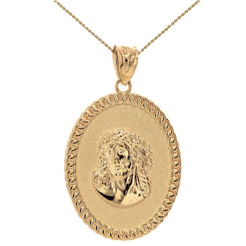 """Solid Yellow Gold Jesus Christ the Lord Cuban Curb Link Frame Oval Medallion Pendant Necklace 1.27"""" ( 32 mm)"""