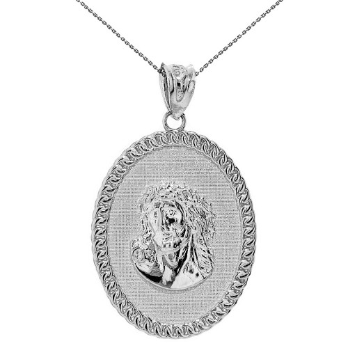 "Solid White Gold Jesus Christ the Lord Cuban Curb Link Frame Oval Medallion Pendant Necklace 1.27"" ( 32 mm)"