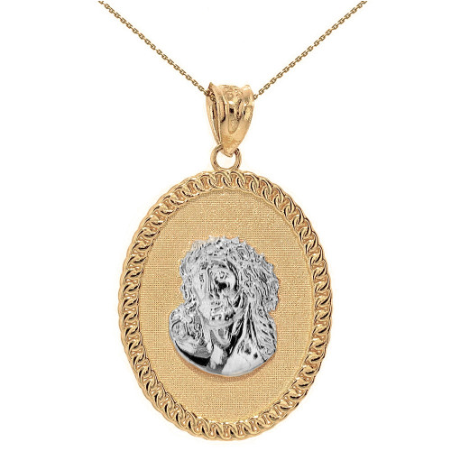 """Two Tone Solid Yellow Gold Jesus Christ the Lord Cuban Curb Link Frame Oval Medallion Pendant Necklace 1.27"""" ( 32 mm)"""