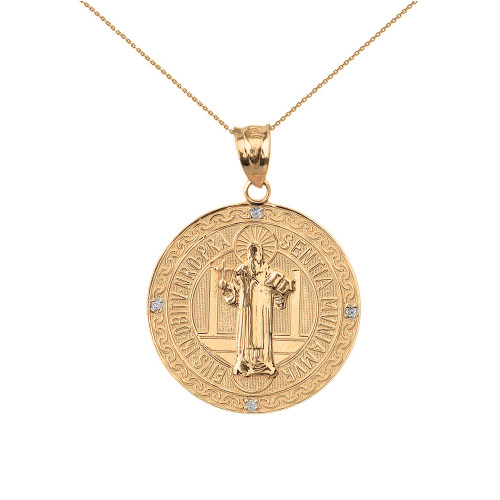 "Solid Yellow Gold Saint Benito Engravable Diamond Medallion Pendant Necklace  1.03"" ( 26 mm)"