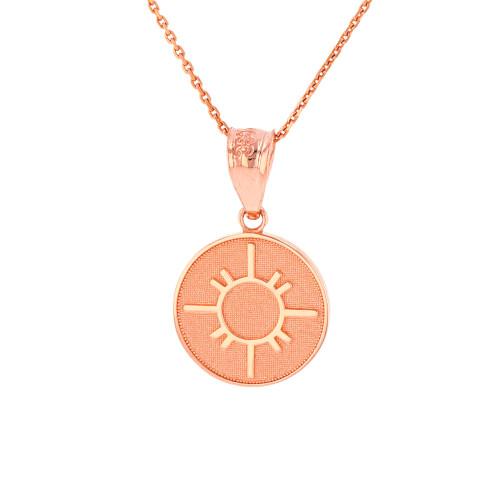 Solid Rose Gold Native American Geometric Sun Symbol Dainty Disc Medallion Pendant Necklace