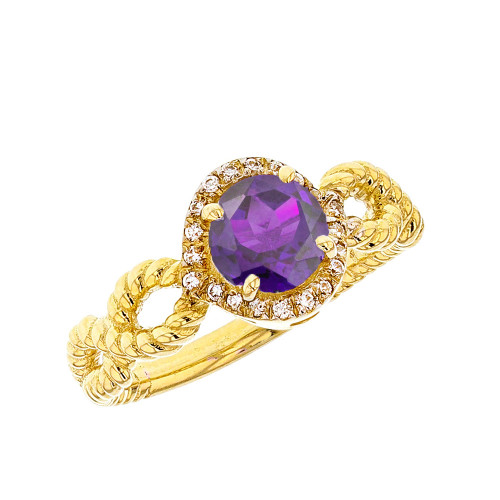 Yellow Gold Infinity Rope Diamond Genuine  Amethyst Engagement Ring