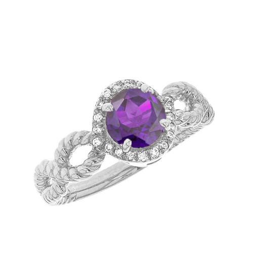 White Gold Infinity Rope Diamond Genuine  Amethyst Engagement Ring
