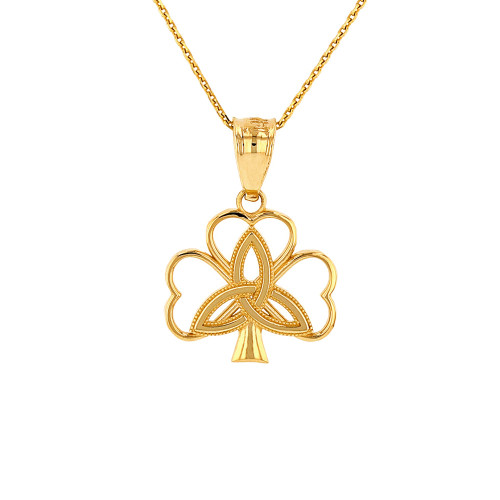 Solid Yellow Gold Triquetra Irish Celtic Clover Pendant Necklace