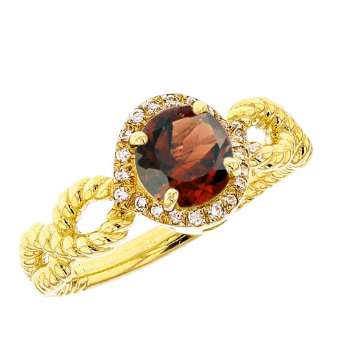 Yellow Gold Infinity Rope Diamond Genuine Garnet Engagement Ring