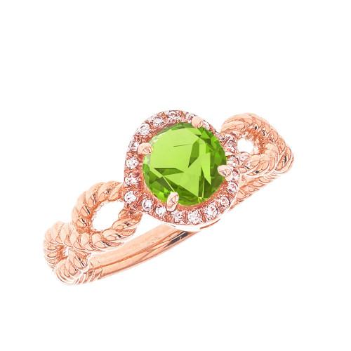 Rose Gold Infinity Rope Diamond Genuine Peridot Engagement Ring