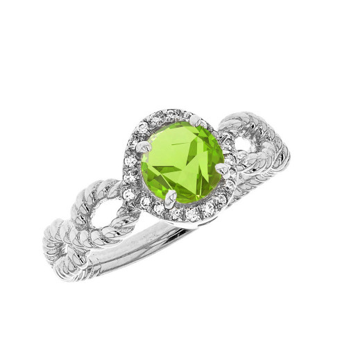 White Gold Infinity Rope Diamond Genuine Peridot Engagement Ring