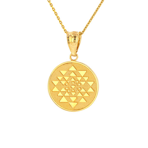 Solid Yellow Gold Yantra Tantric Indian Yoga Disc Circle Pendant Necklace