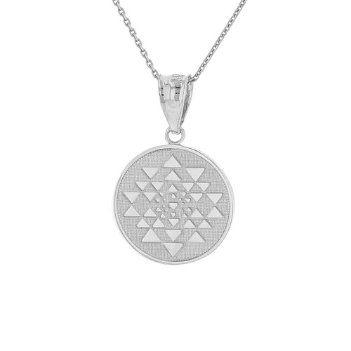Solid White Gold Yantra Tantric Indian Yoga Disc Circle Pendant Necklace