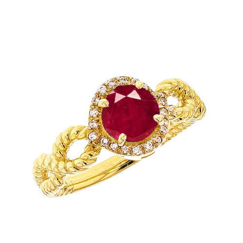 Yellow Gold Infinity Rope Diamond and (LCR) Ruby Engagement Ring