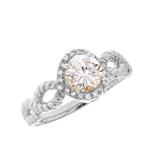 White Gold Infinity Rope Diamond Genuine White Topaz Engagement Ring