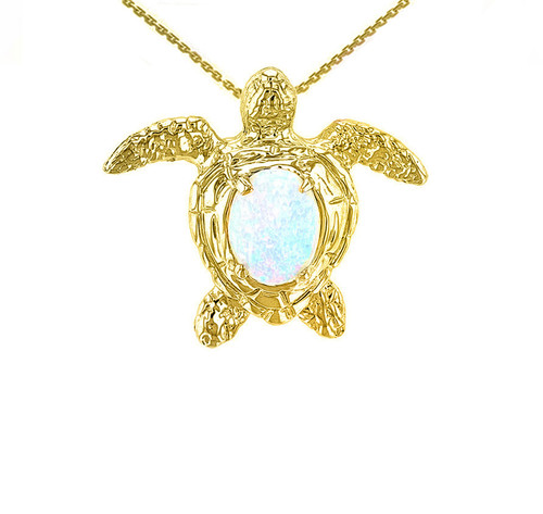 Yellow Gold Sea Turtle with Simulated Opal Shell