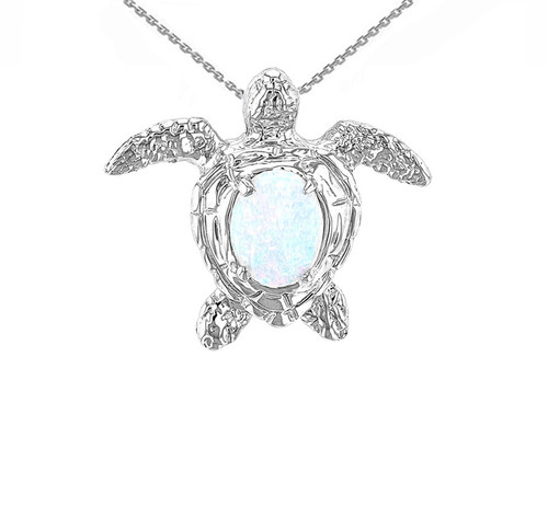 White Gold Sea Turtle with Simulated Opal Shell