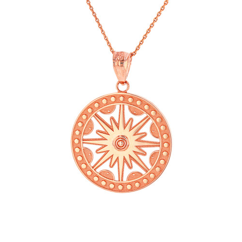 Solid Rose Gold Textured Medallion Openwork Flaming Sun Pendant Necklace