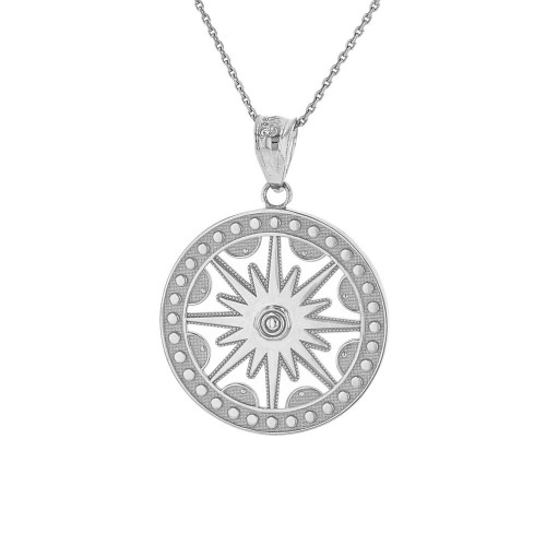 Solid White Gold Textured Medallion Openwork Flaming Sun Pendant Necklace