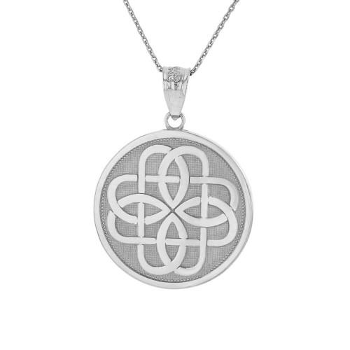Solid White Gold Celtic Knot Flower Medallion Pendant Necklace