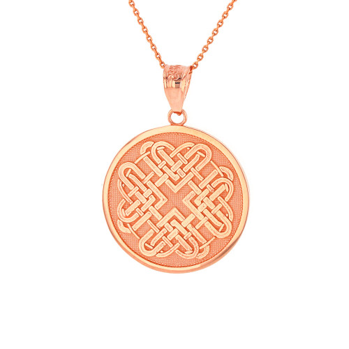 Solid Rose Gold Celtic Quaternary Heart Knot Medallion Pendant Necklace