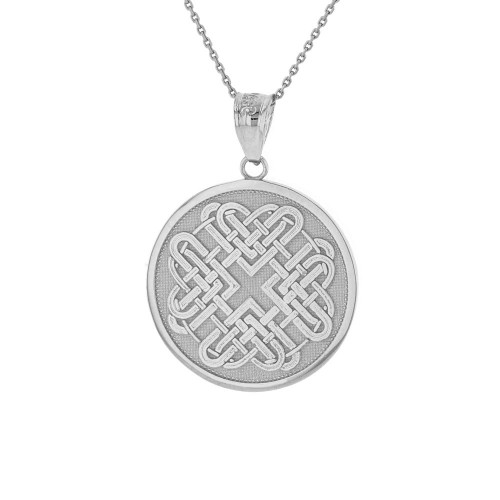 Solid White Gold Celtic Quaternary Heart Knot Medallion Pendant Necklace