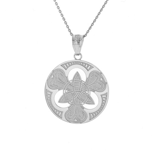 Sterling Silver Triquetra Circle Trinity Knot Irish Pendant Necklace