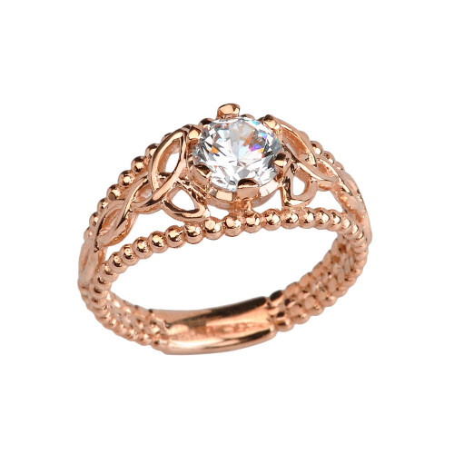 Rose Gold Genuine White Topaz Beaded Celtic Trinity Knot Engagement/Promise Ring