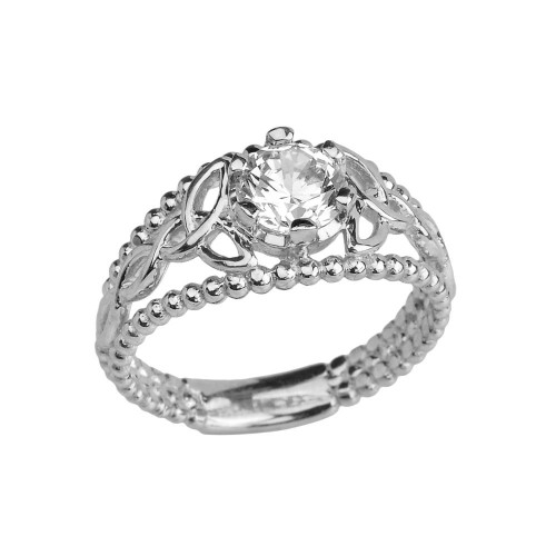 White Gold Genuine White Topaz Beaded Celtic Trinity Knot Engagement/Promise Ring