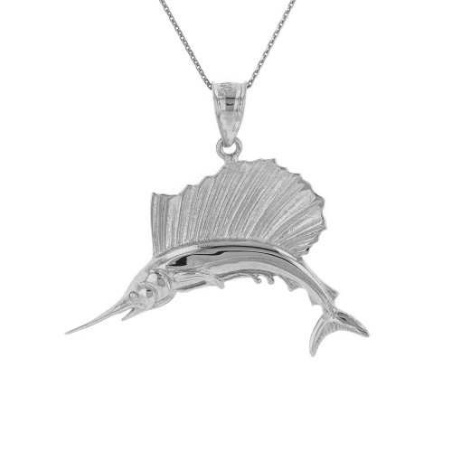 Solid White Gold Marlin Swordfish Pendant Necklace