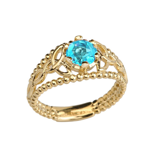 Yellow Gold Genuine Blue Topaz Beaded Celtic Trinity Knot Engagement/Promise Ring