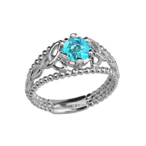 White Gold Genuine Blue Topaz Beaded Celtic Trinity Knot Engagement/Promise Ring