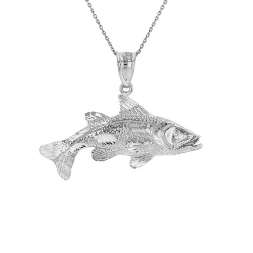 Solid White Gold Diamond Cut Largemouth Bass Fish Pendant Necklace