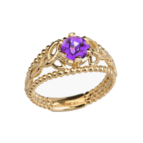 Yellow Gold Genuine Amethyst Beaded Celtic Trinity Knot Engagement/Promise Ring