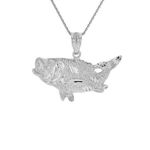 Sterling Silver Diamond Cut  Big Game Fishing Bass Fish Pendant Necklace
