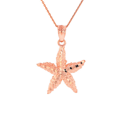 Solid Rose Gold Diamond Cut Starfish Sea Star Pendant Necklace