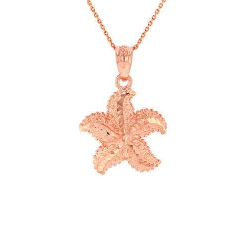 Solid Rose Gold Diamond Cut Ocean Starfish Pendant Necklace