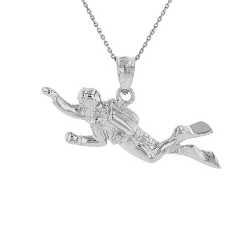 Solid White Gold Ocean Scuba Diver Underwater Exploration  Pendant Necklace