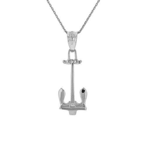 Sterling Silver U.S Navy Stockless Anchor Pendant Necklace