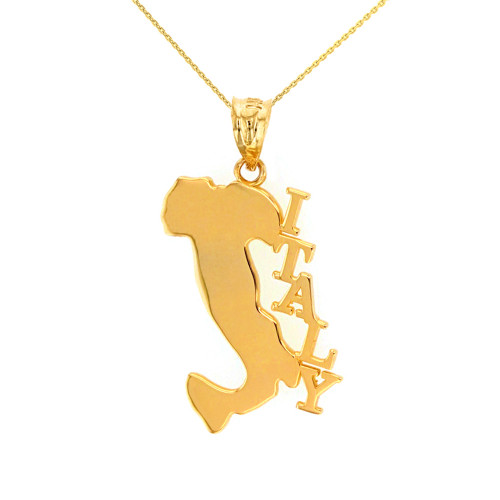 Solid Yellow Gold Italy Pendant Necklace
