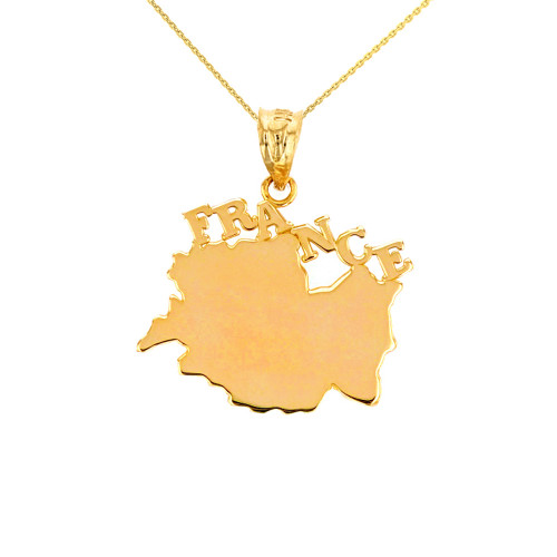 Solid Yellow Gold France Pendant Necklace